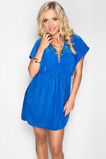 Deep-V Ocean Blue Summer Bikini Beach Dress Casual V-Neck