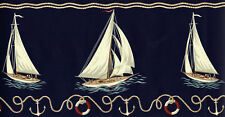 Ralph Lauren Coastal Nautical Sailboat Ocean Navy Blue Beach Wallpaper Border