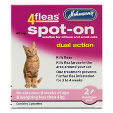 Johnsons 4Fleas Dual Action Spot On For Cats & Kittens Less Than 4kg Free Post
