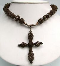 ANTIQUE BEADED WOVEN HAIR MOURNING NECKLACE WITH CROSS PENDANT