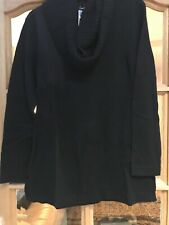 Karen Scott knitted winter sweater with clip on scarf uk size S colour Black