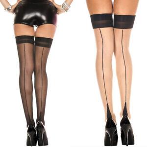 Sheer Thigh High Stockings Backseam Cuban Heel Top Retro Pinup Bridal Burlesque