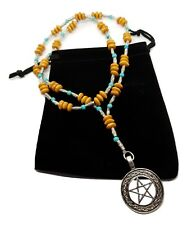 Witches Ladder Prayer Beads Necklace Turquoise Gemstone Wood Pentacle Necklace 1