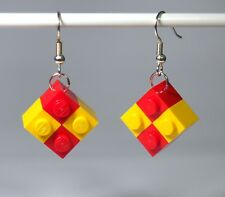 Earrings made with LEGO bricks - Red and Yellow