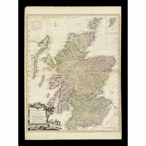 Kitchin 1778 Map Scotland Counties North Britain Large Wall Art Print 18X24 In
