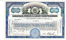 Utilities Power & Light Corporation VA 1935 Stock Certificate