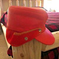 Vintage 1960s Hunting Hat - Ear Flaps - Blaze Orange - 6 7/8