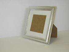 Two Tone Silver 10x10 Square Picture Photo Frame  Mount 7x7 Free Standing
