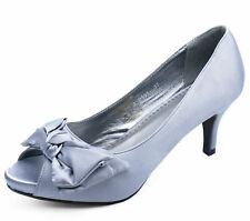 LADIES SILVER SATIN PEEP-TOE SLIP-ON LOW HEEL COURT SMART WORK SHOES SIZES 3-8