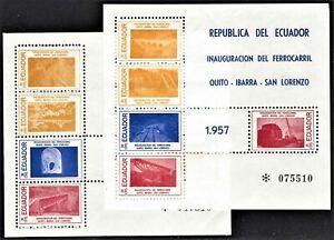 EDUADOR 1957 SCOTT 618-9 QUITO RAILROAD MINT