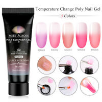 MEET ACROSS 20ml Soak Off Temperature Change Poly Extension Nail UV Gel Manicure