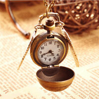 Vintage Bronze Harry Potter Snitch Watch Pendant Pocket Watches Chain Necklace