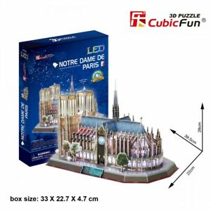 Notre Dame Paris 149pcs LED Architecture 3D Model DIY Puzzle Hobby Building Kit