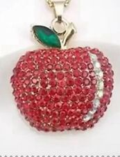 Betsey Johnson Necklace APPLE FOR TEACHER RED Gold With Crystals