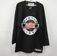 Vintage 90s CCM Center Ice Mens XL Detroit Red Wings Hockey Jersey NHL Black
