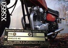 YAMAHA XS  650 TX 750 650 500 XS650 500 RD400 X2 DT 360 RZ 201 TZ 350 Data Plate