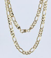 """New Men's 10K Solid Yellow Gold 22"""" Figaro Chain Necklace 22.9 grams 6.1 mm"""