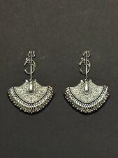 Om Trishul Earrings,Mahadev Jhumka/Jhumki,Indian Oxidized Silver Chandbali,Shiv