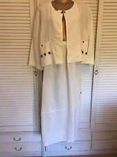 Designer Animale Pale Cream  XL Linen Suit Asymmetric Skirt Hem Coconut Buttons