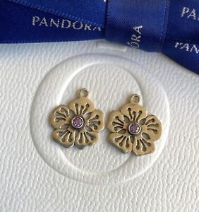 Authentic Pandora Purple Amethyst Hibiscus Flower Compose Earrings #290623ACZ