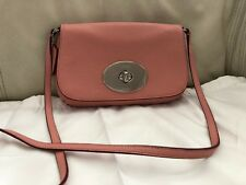 NWT Coach Pink Pebble Leather Chrome Turn Lock Crossbody Pouch Bag F52896