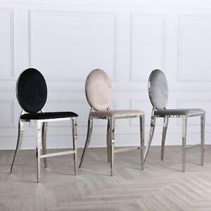 Grey Cream & Black Velvet Upholstered Chrome 65cm Breakfast Bar Kitchen Stools