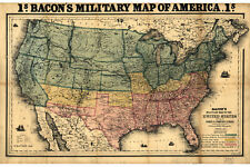 Map of Civil War Forts & Fortifications; 1862 Bacon's Military Map of America