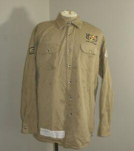 BULWARK Mens XL FR Fire Flame Resistant Long Sleeve button down Shirt Khaki Tan