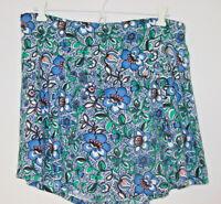 Express Women's blue floral short skirt skort shorts white green pink-L-NEW