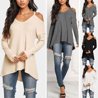 Womens Casual V-neck Tops Long Sleeve Cold Shoulder T Shirt Tee Blouse