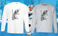 Frozen Olaf elsa Disney T-Shirt Tee Kids Princess Girls/Boys Long Sleeve Top New