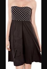 New NWT Profile by Gottex Black White Poke A Dot Swimsuit Cover Up Dress Small