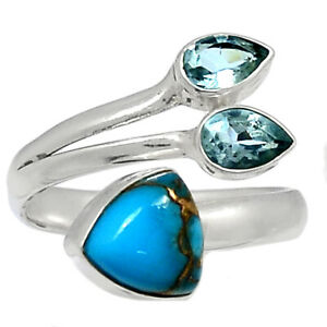 Copper Blue Turquoise - Arizona & Blue Topaz 925 Silver Ring s.8 BR92650