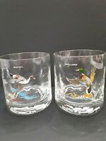 Vtg Ned Smith Duck Glasses Waterfowl Set 2 Old Fashioned Rocks Gold Trim Barware