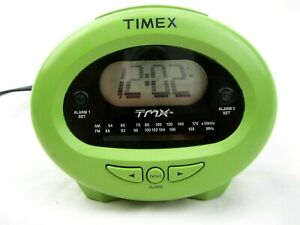 Timex TMX TX-40GL AM-FM Clock Radio 2 Alarms Talking Mystery Button Green Retro