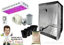 LED Grow Light Grow Tent Kit Complete with Fan Canna Coco Hydroponics 1.2m 600w