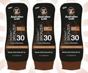 3 Australian Gold SPF 30 Sunscreen Lotion with Instant Bronzer 8 OZ EXP 10/22