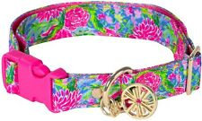 Lilly Pulitzer Blue Bunny Business Floral Medium Large M-L Dog Collar New Nwt