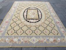 Old Hand Made French Design Wool Beige Grey Large Original Aubusson 309X239cm