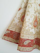 Cream Red Indian Wedding Lengha Dress Semi Stitched Vintage Silk