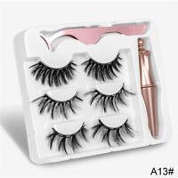 3PCS Cils Magnétiques Liquide Eyeliner Gel Faux Parfait 3D Cils Naturels G