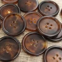 """Lot 6 40L 25mm 1"""" Natural Lt Brown Real Buffalo Horn Button Bouton Knopf Boton"""
