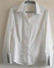 M&S SIZE 16 LADIES STRETCH WHITE BUTTON FRONT V-NECK BLOUSE