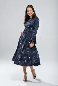 Rare M&S Navy Constellation Sun Moon Stars Galaxy Midi Dress Blogger Fave 10 UK
