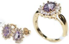 1.45ct GENUINE AMETHYST Ring & Studs 2pcs SET with Brilliant Little Rounds.
