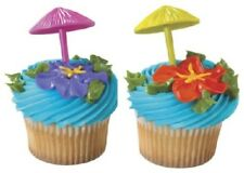24 3D Umbrella Picks Cake Toppers Decorations Luau Beach Party Supplies