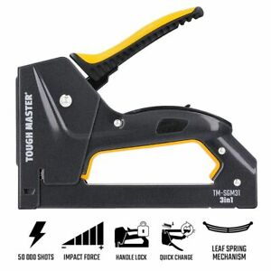 3 in 1 Heavy Duty Staple Gun with Adjustable Force Black DIY Upholstery Craft