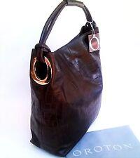 RRP$695 New Oroton Kiera Croc Large Hobo Shoulder Bag Handbag Leather Brown