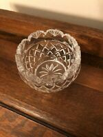 Vintage Collectible Depression Candle Holder Dish Bowl Clear Cut Glass Heavy