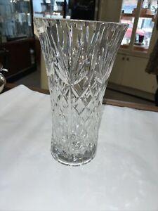 Stunning Large Royal Scot Crystal Cut Glass Decorative Vase 25cm Tall
